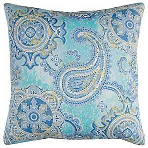 Blue Paisley Outdoor Pillow