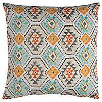 Aztec Aqua and Spice Outdoor Pillow
