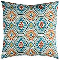 Aztec Blue and Red Outdoor Pillow