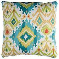 Blue and Tan Ikat Outdoor Pillow