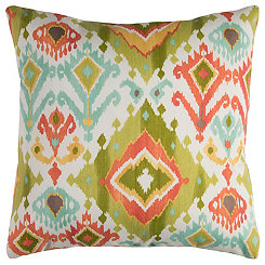 Green and Pink Ikat Outdoor Pillow