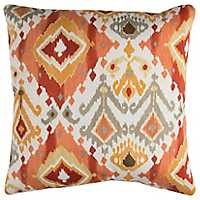 Red and Orange Ikat Outdoor Pillow
