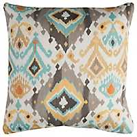 Gray and Blue Ikat Outdoor Pillow