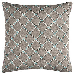 Gray and Blue Quatrefoil Outdoor Pillow
