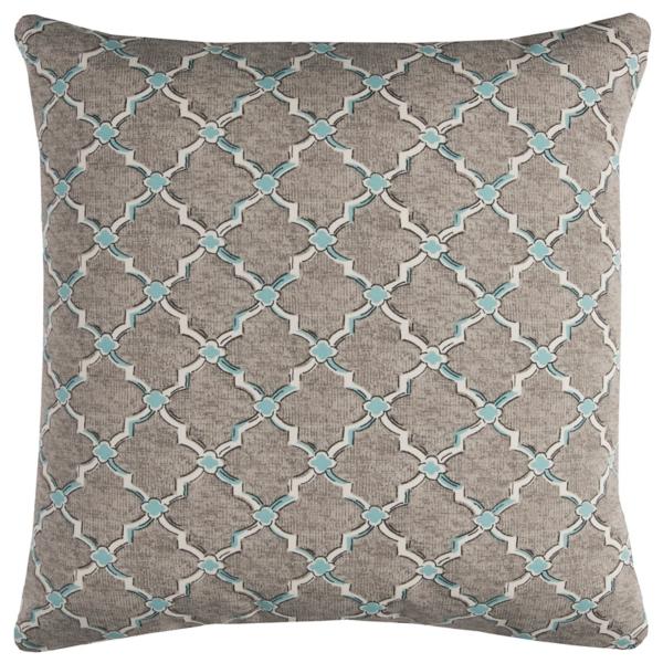 Gray And Blue Quatrefoil Outdoor Pillow