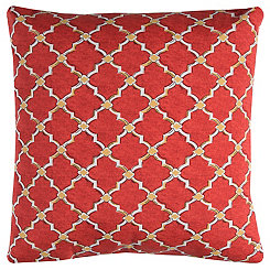 Red and Tan Quatrefoil Outdoor Pillow