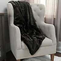 Lined Black Faux Fur Throw Blanket