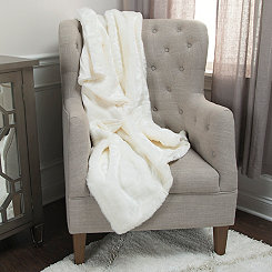 Lined White Faux Fur Throw Blanket