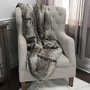Lined Gray Faux Fur Throw Blanket