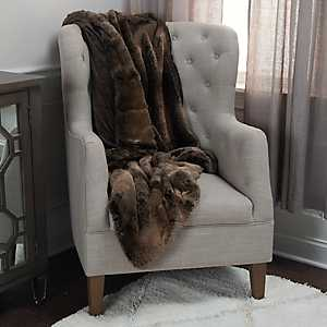 Lined Brown Faux Fur Throw Blanket