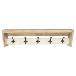 Distressed Wall Shelf with Hooks