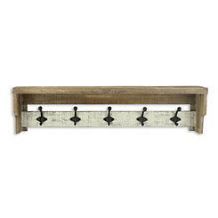 Distressed Wall Shelf with Hooks