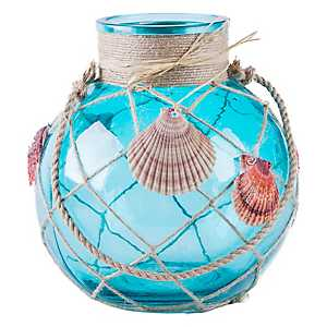 St. Thomas Turquoise Seashell Lantern, 10 in.