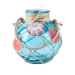 St. Thomas Turquoise Seashell Lantern, 7.25 in.