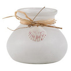 White Frosted Glass St. Thomas Shell Lantern