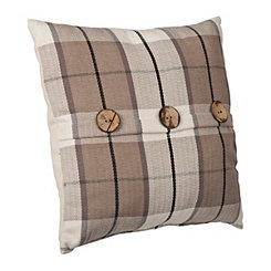 Raven Tan Plaid Button Pillow