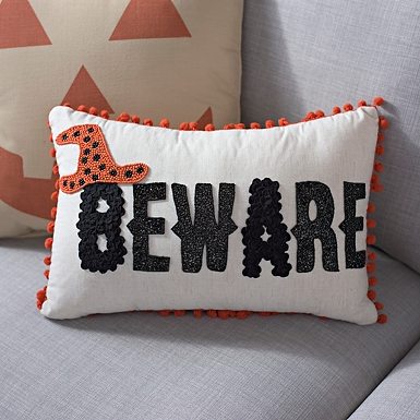 beware halloween pillow