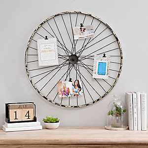 Rustic Bicycle Wheel Collage Frame with Clips