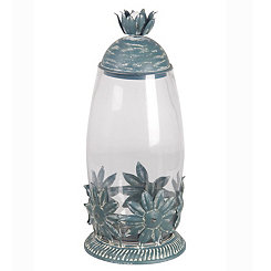 Star Leaf Metal and Glass Jar
