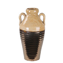 Cream and Copper Ceramic Vase