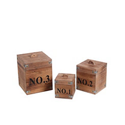 Numbered Wooden Boxes, Set of 3