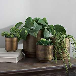 Aged Brass Flower Pots, Set of 4