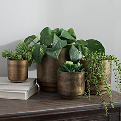 Aged Brass Flower Pots, Set of 4
