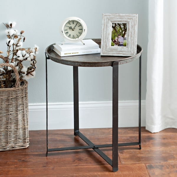 round metal folding base accent table