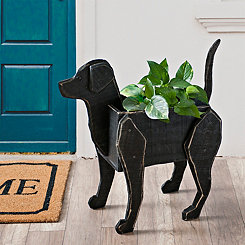 Wooden Black Lab Planter