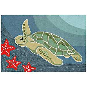 Blue Turtle Scatter Rug