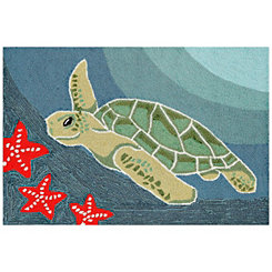 Blue Turtle Scatter Rug