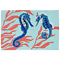 Blue Seahorses Scatter Rug