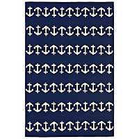 Livia Navy Anchor Area Rug, 5x8