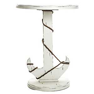 Round Wood Anchor Accent Table
