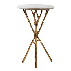 Golden Branches Marble Accent Table