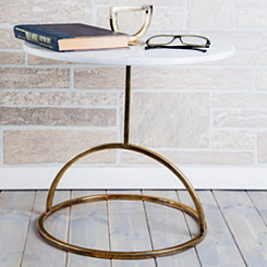 Steel Frame Marble Accent Table