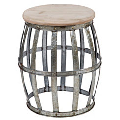Woven Galvanized Metal Accent Table