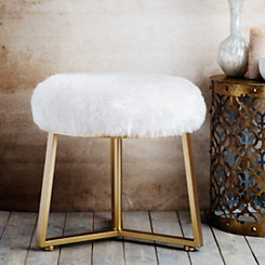 White Round Faux Fur Stool