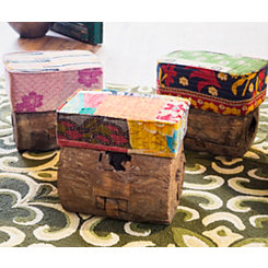 Tree Trunk Patchwork Small Stool