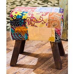 Tree Trunk Patchwork Rectangular Stool