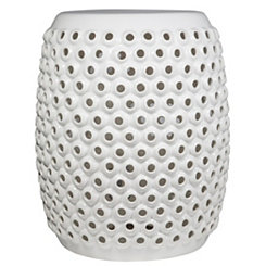 White Pierced Garden Stool