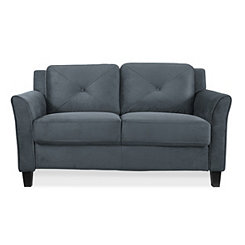 Dark Gray Reggio Curved Arm Loveseat