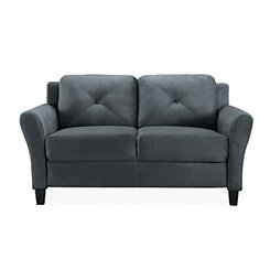 Dark Gray Reggio Round Arm Loveseat