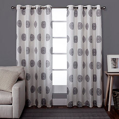 Gray Medallion Curtain Panel Set, 84 in.