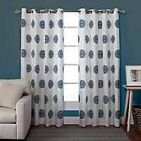 Blue Medallion Curtain Panel Set