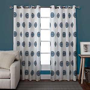Blue Medallion Curtain Panel Set, 84 in.