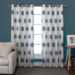 Blue Medallion Curtain Panel Set, 84 in.