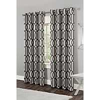 Trincity Black Trellis Curtain Panel Set, 84 in.