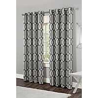 Trincity Blue Trellis Curtain Panel Set, 84 in.