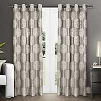Akola Gray Medallion Curtain Panel Set, 84 in.